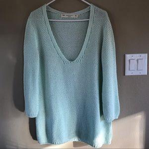 Zara Knit Tunic Sweater V Neck in Pearl Green SZ L